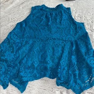 Lily White Turquoise Peplum Lace Sleeveless Top